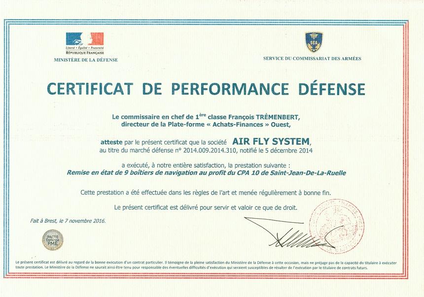 Certificat de Performance Defense